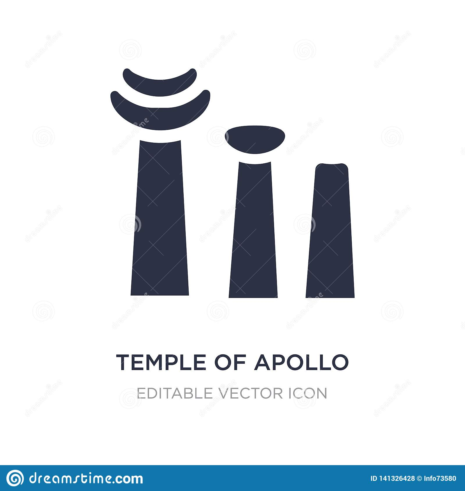 Temple d icône d Apollo sur le fond blanc Illustration simple d élément de concept de monuments