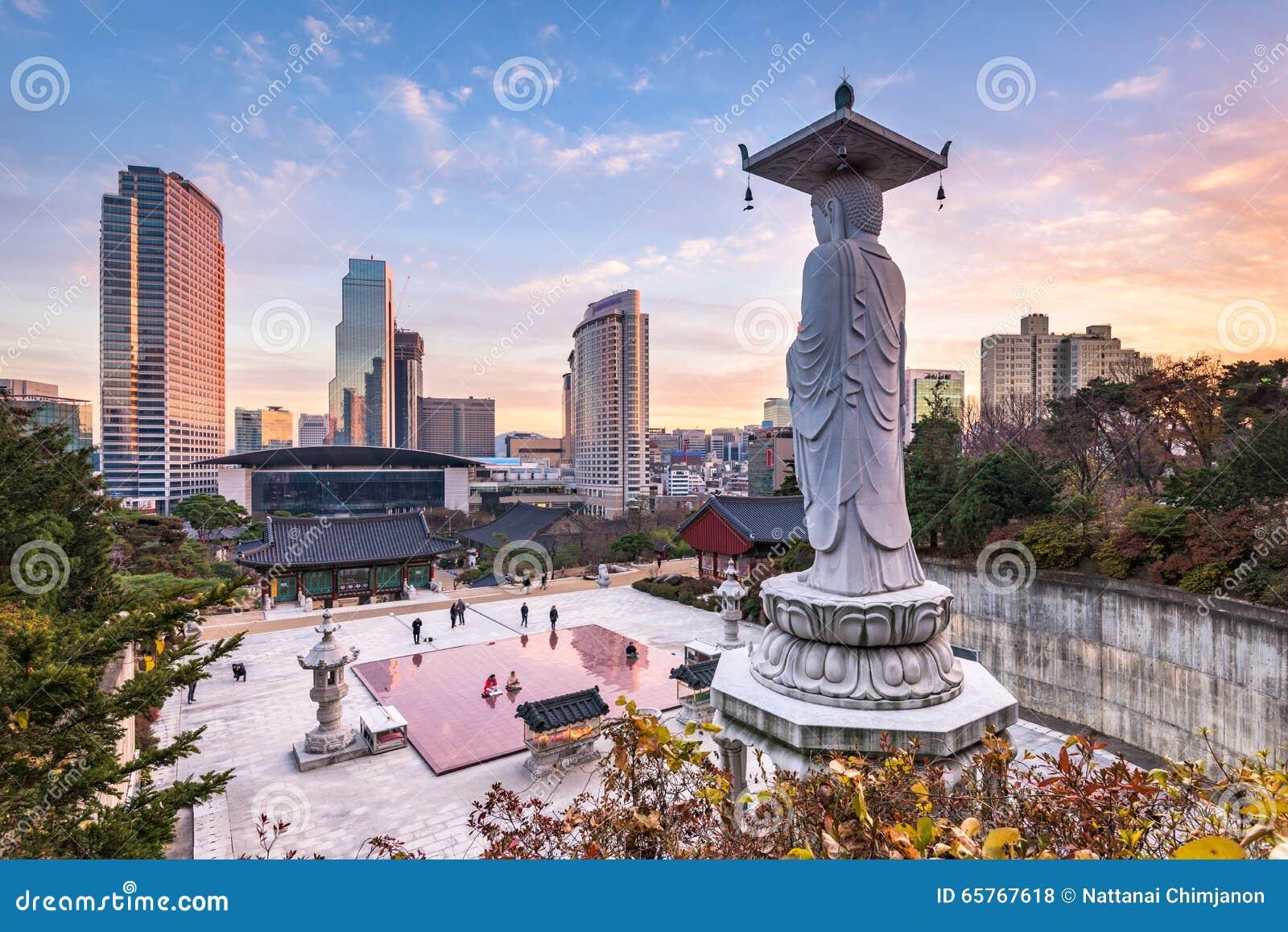Temple de Bongeunsa dans la ville de Séoul, Corée du Sud
