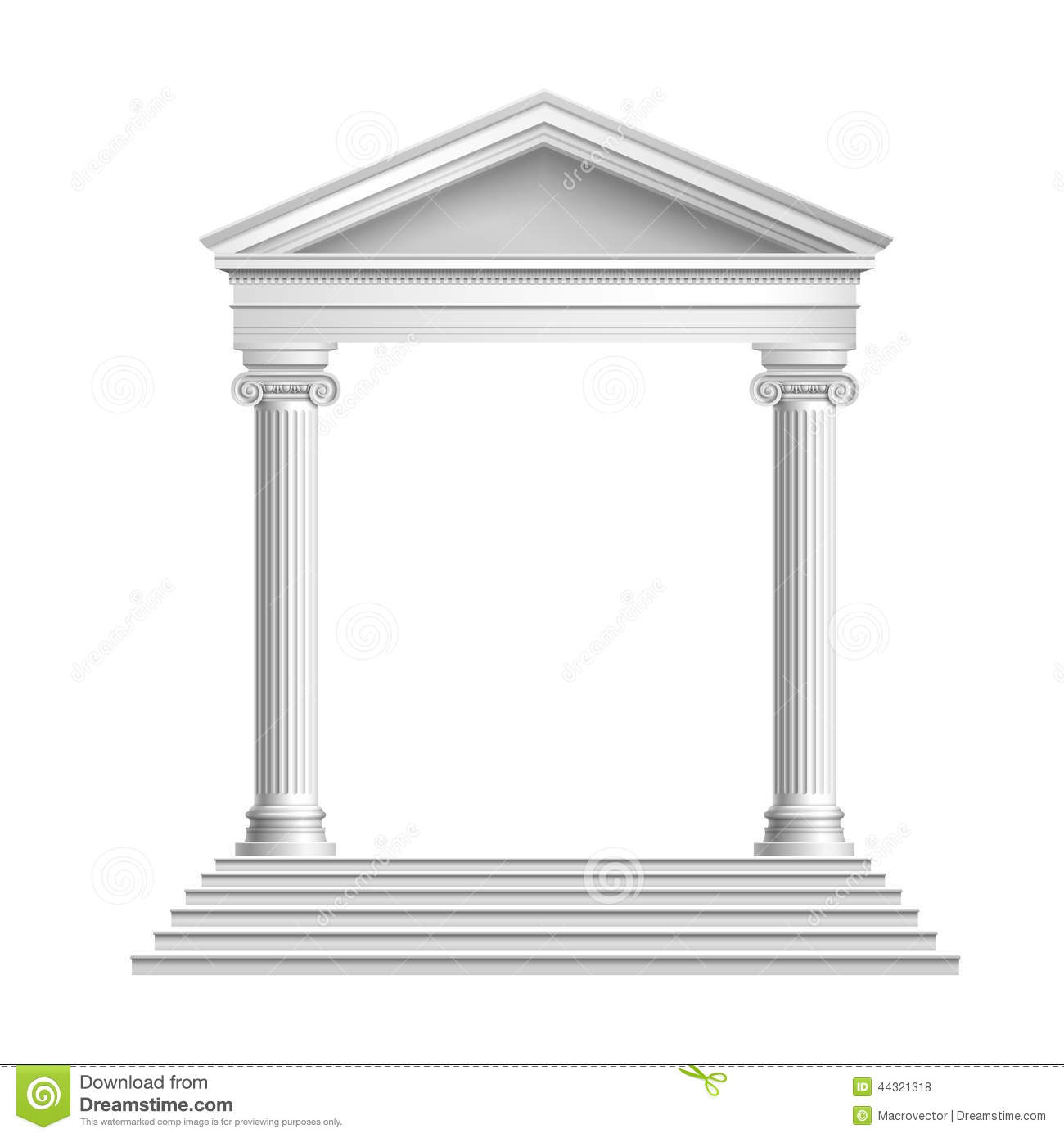 Temple Front With Columns Stock Vector Image 44321318