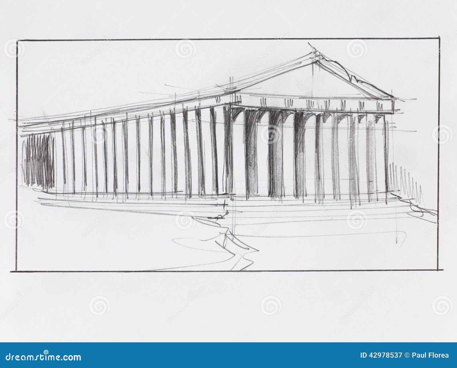 Pantheon Floor Plan Temple Grec De Parthenon Illustration Stock Image 42978537