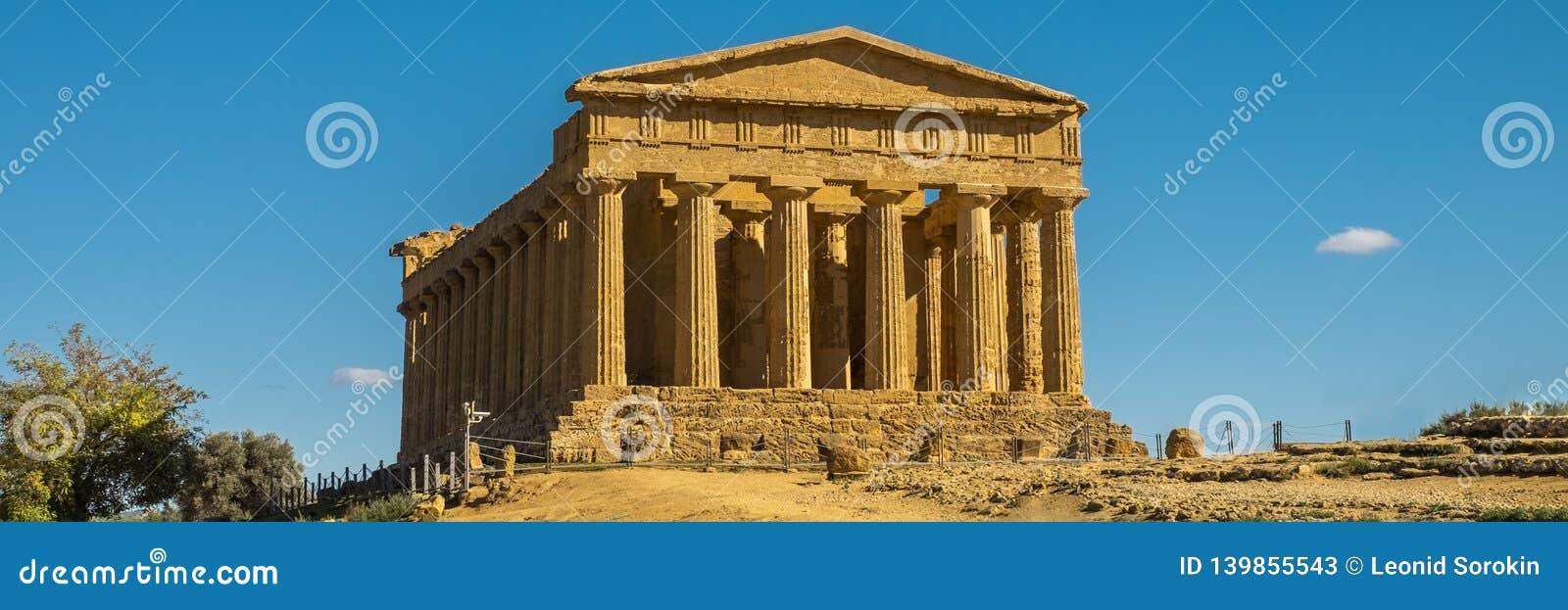 Temple grec - le temple de Concordia Agrigente, île de la Sicile en Italie