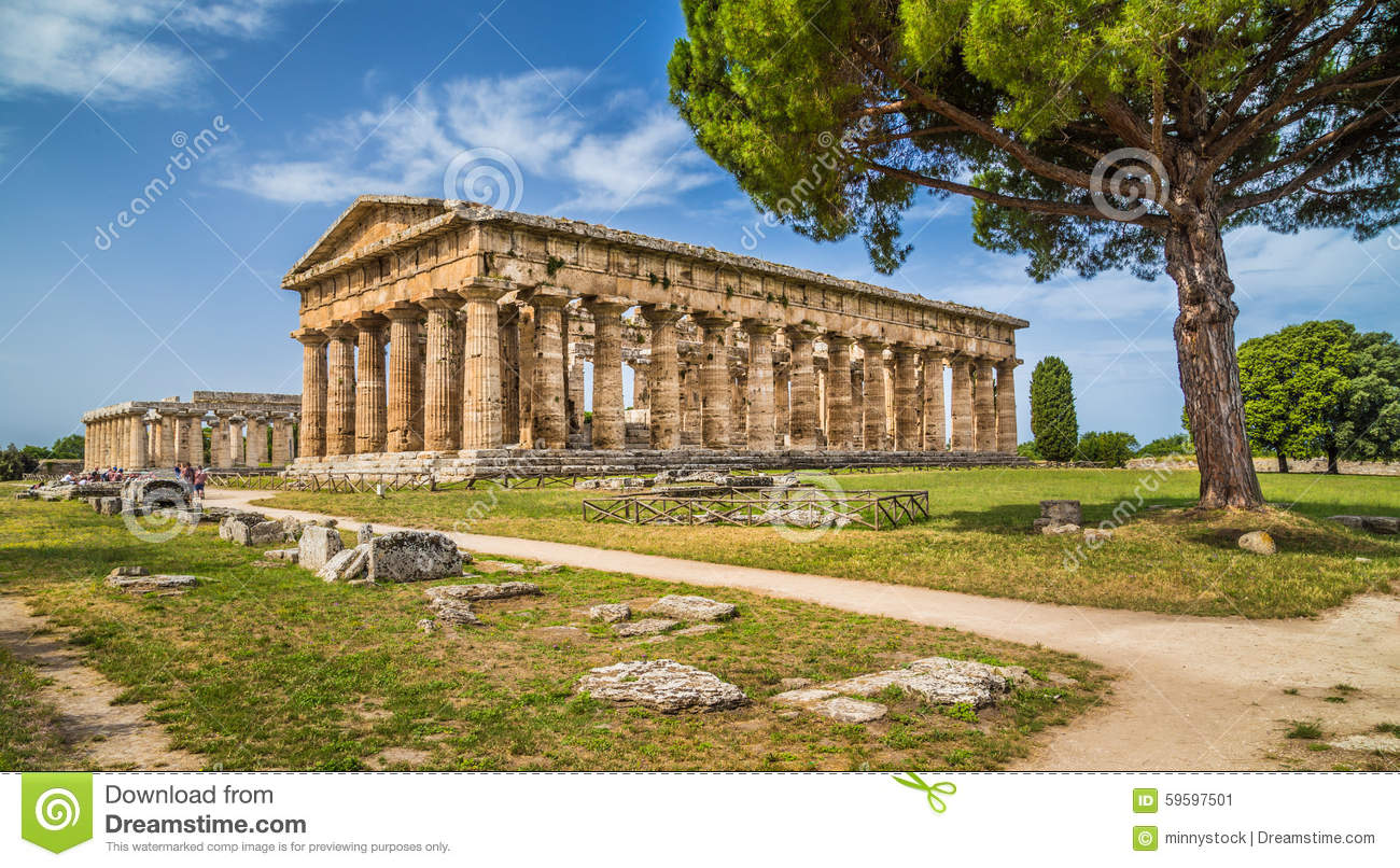 Temple of Hera at famous Paestum Archaeological Site, Campania, Italy