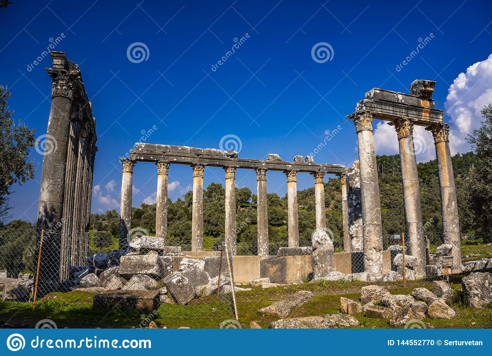 Temple impressionnant de Zeus Lepsinos Ville antique d Euromus Euromos, Milas, Mugla, Turquie