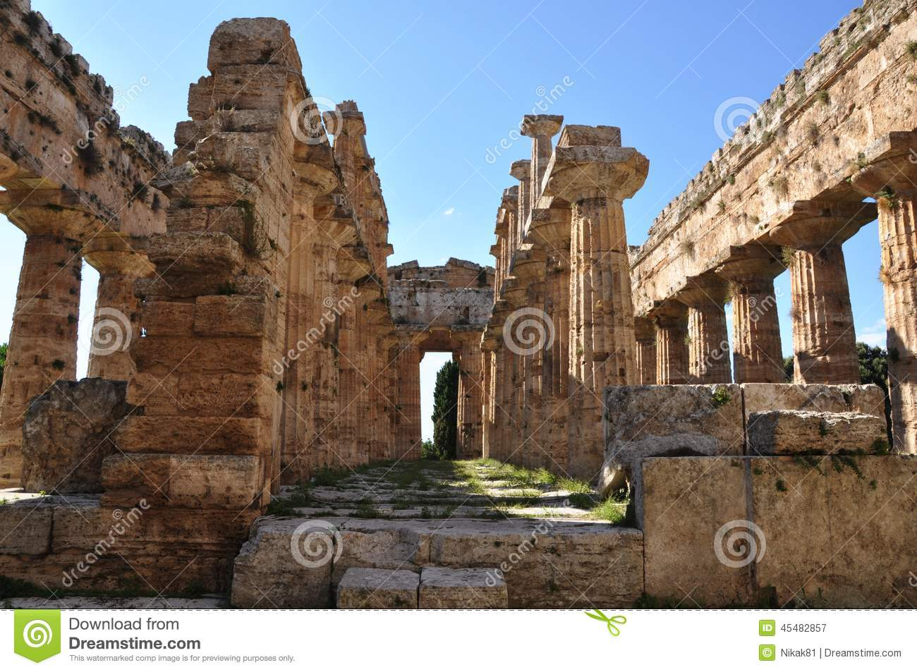 Temple Of Neptune At Paestum Italy Stock Image Image