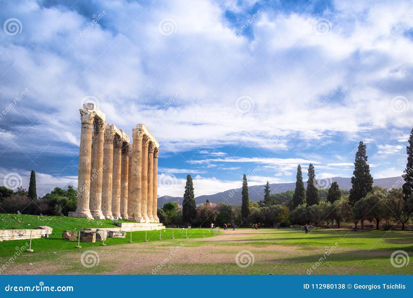 The Temple of Olympian Zeus Greek: Naos tou Olimpiou Dios, also known as the Olympieion, Athens.