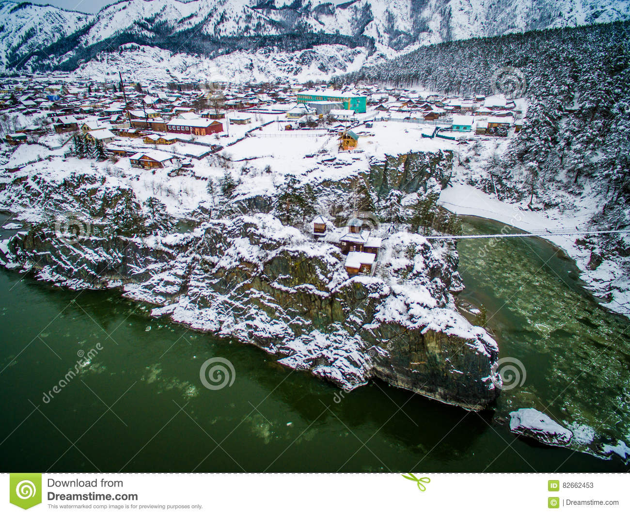 Temple, patmos, altai, a view from air