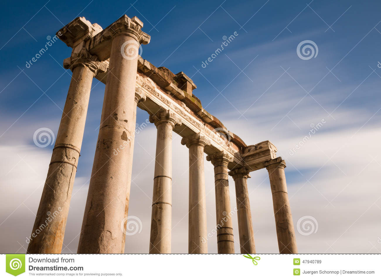 Temple Of Saturn At The Forum Romanum Stock Photo Image