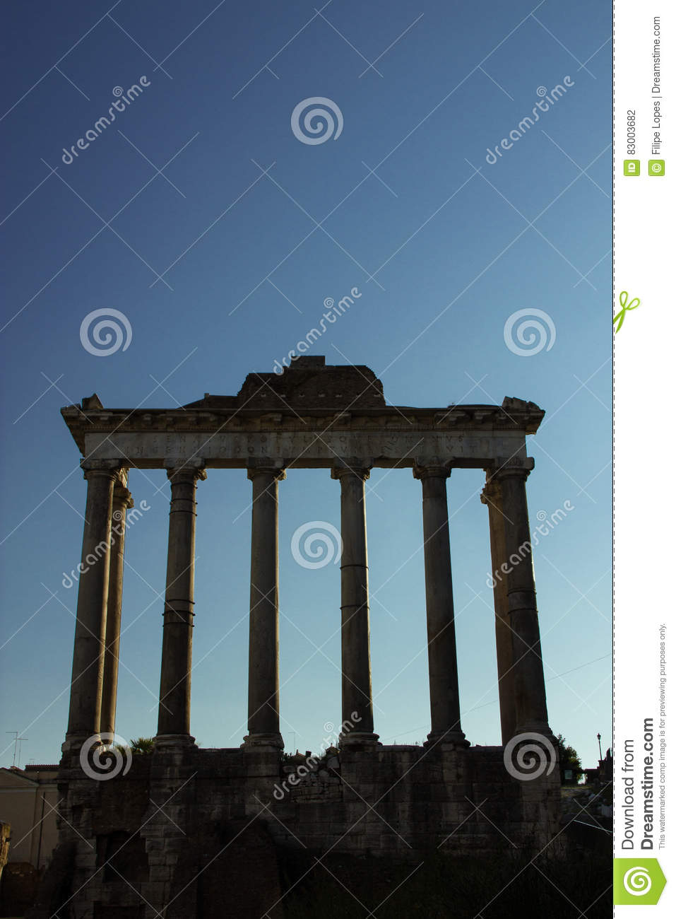 Temple of Saturn stock photo  Image of photography, hill
