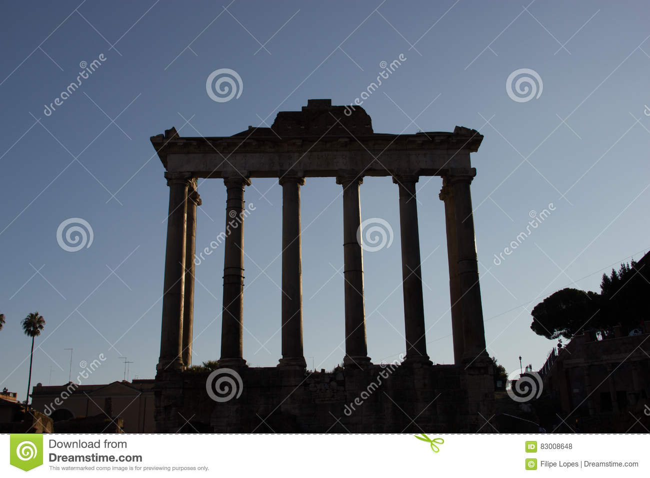 Temple of Saturn stock photo  Image of landmark, blue - 83008648