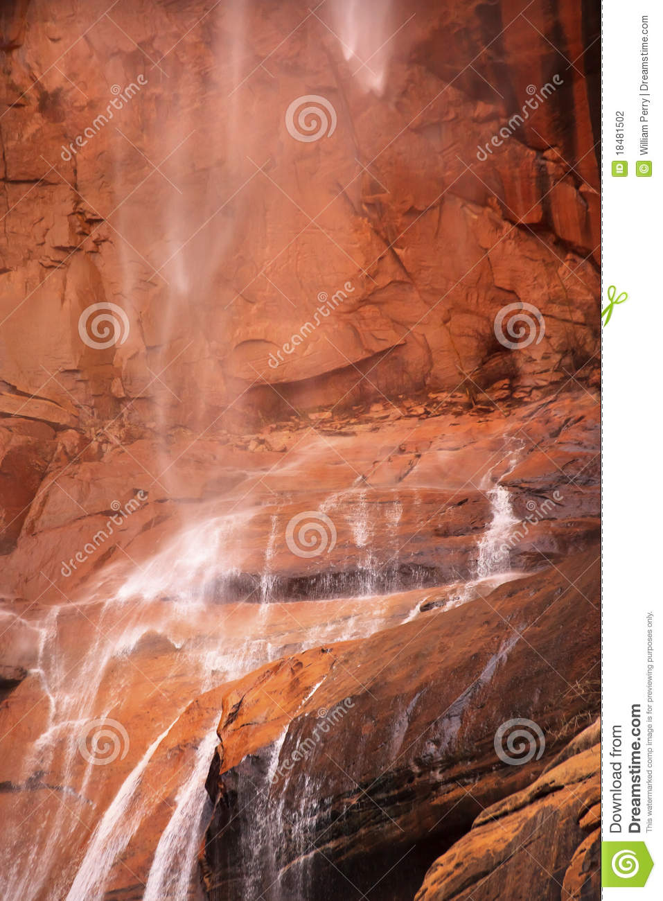 Temple Sinawava Waterfall Red Rock Zion Canyon