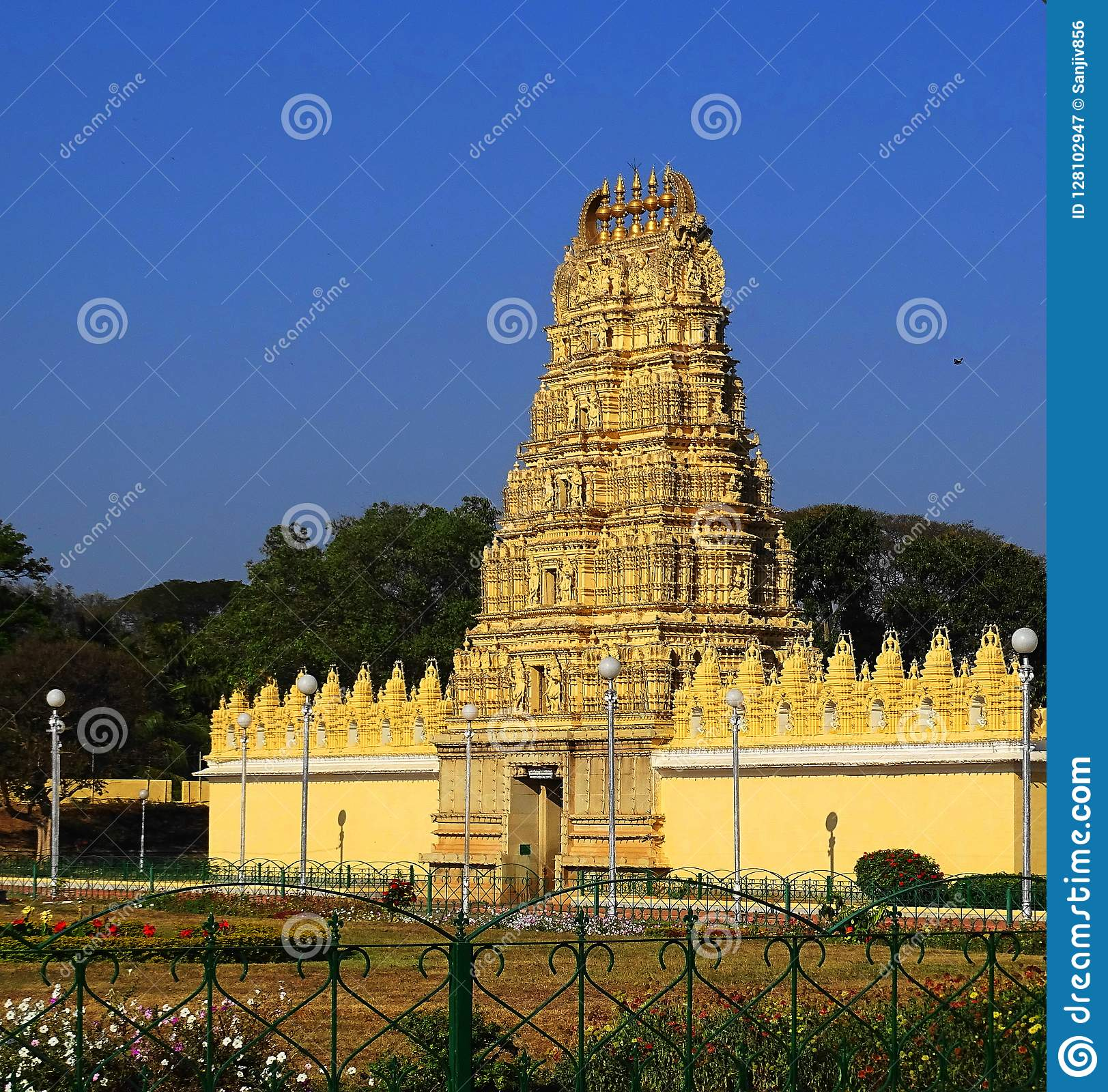Temple With South Indian Architect Stock Image - Image of