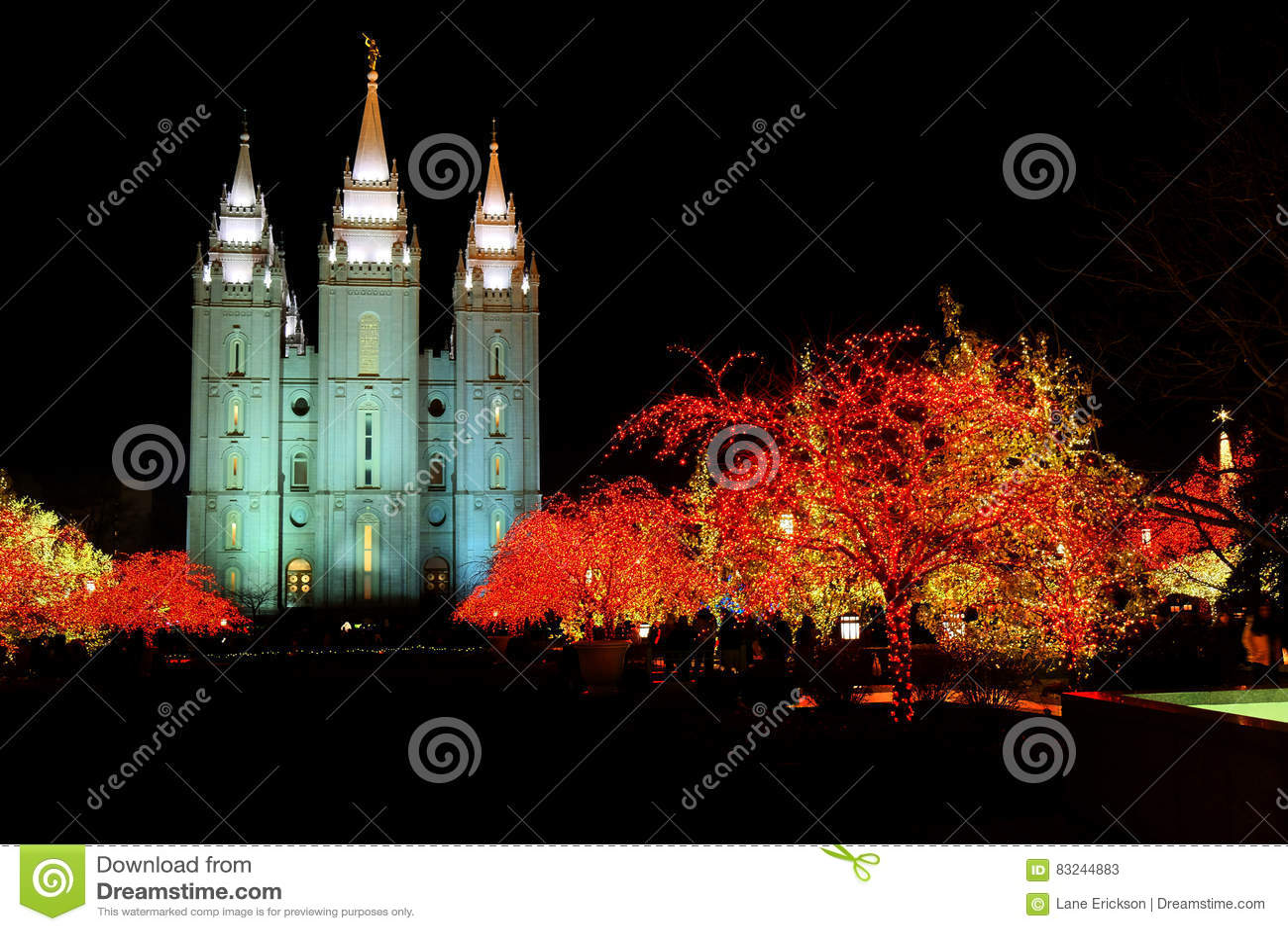 Temple Square Salt Lake City Utah With Christmas Lights Stock Image ...