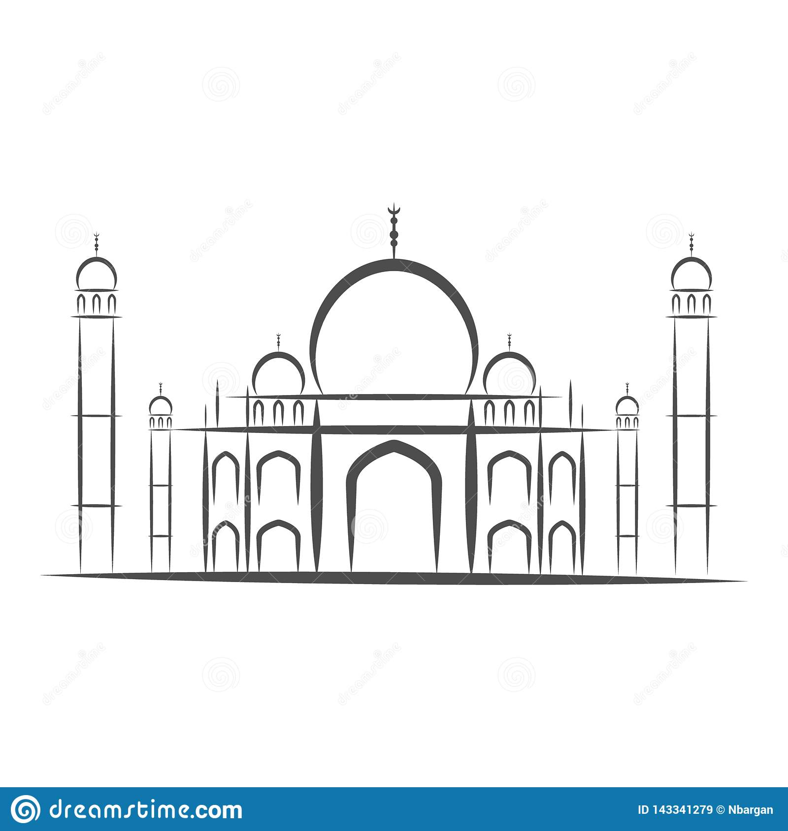 Temple Taj Mahal, Agra, India icons black and white silhouette isolated-vector illustration. White background.