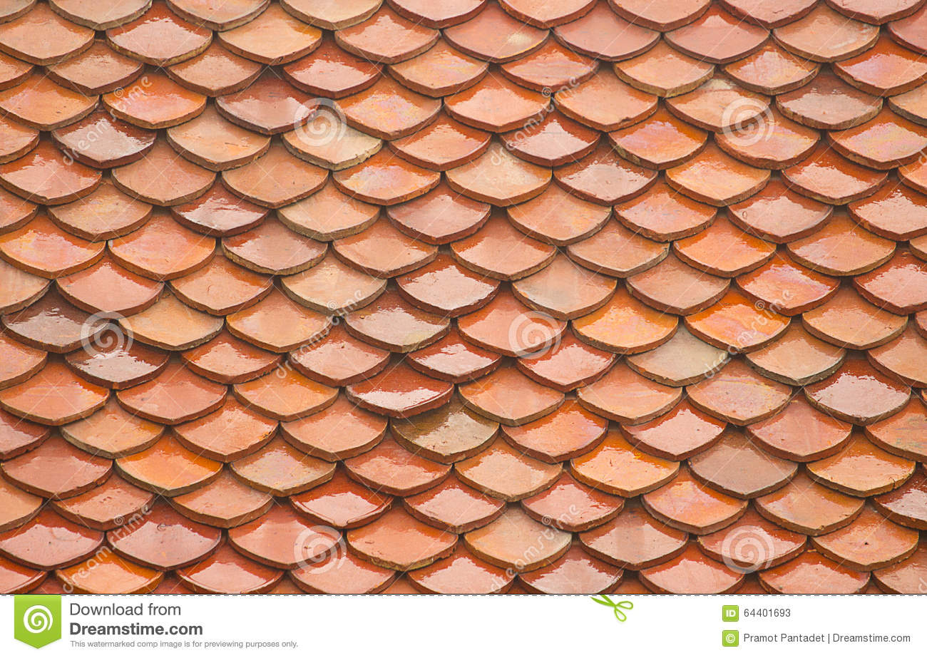 Temple In Thailand Old Tile Roof Texture Background