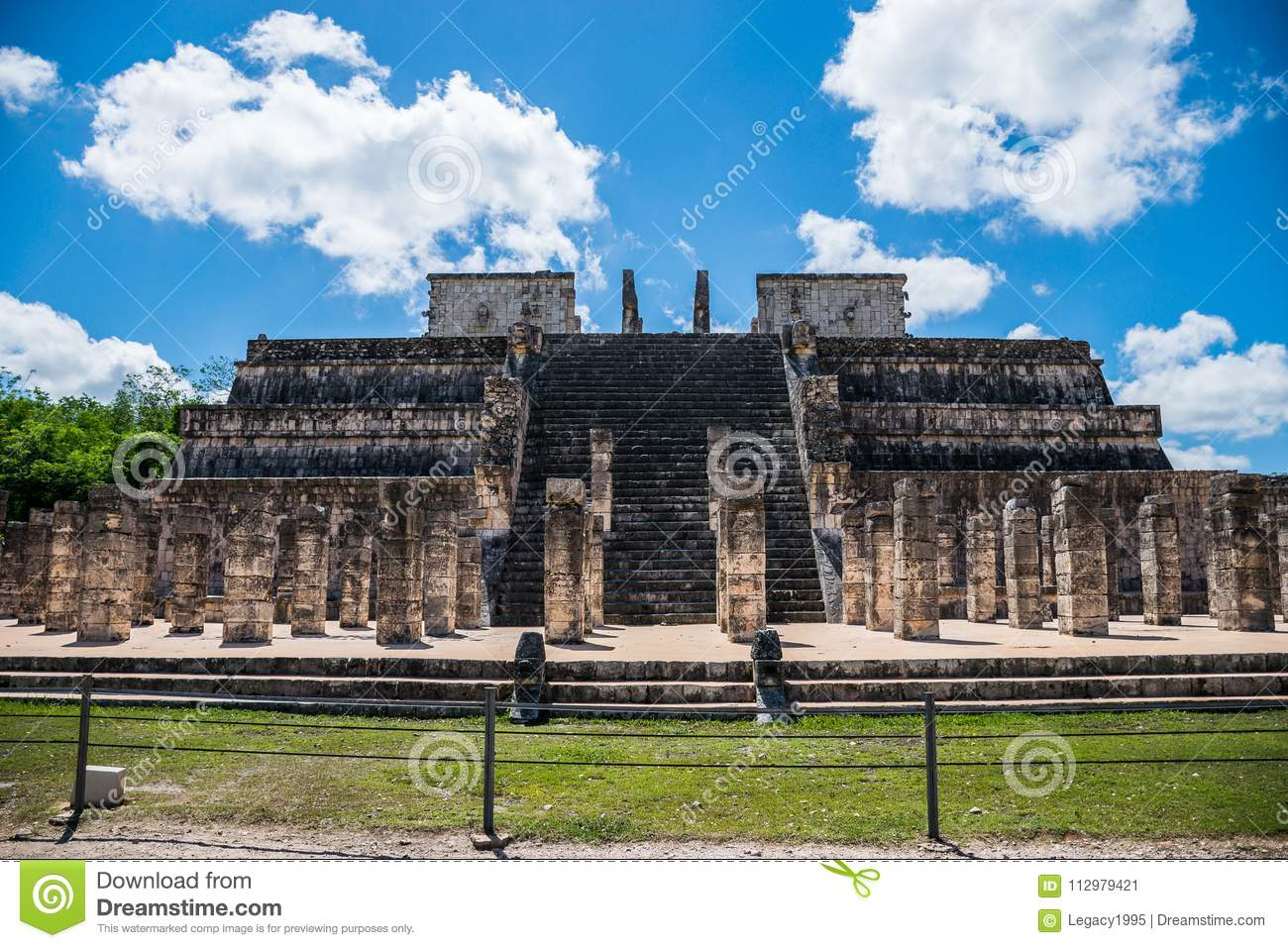 Temple of the Warriors and Thousand Columns at Chichen Itza, Mexico