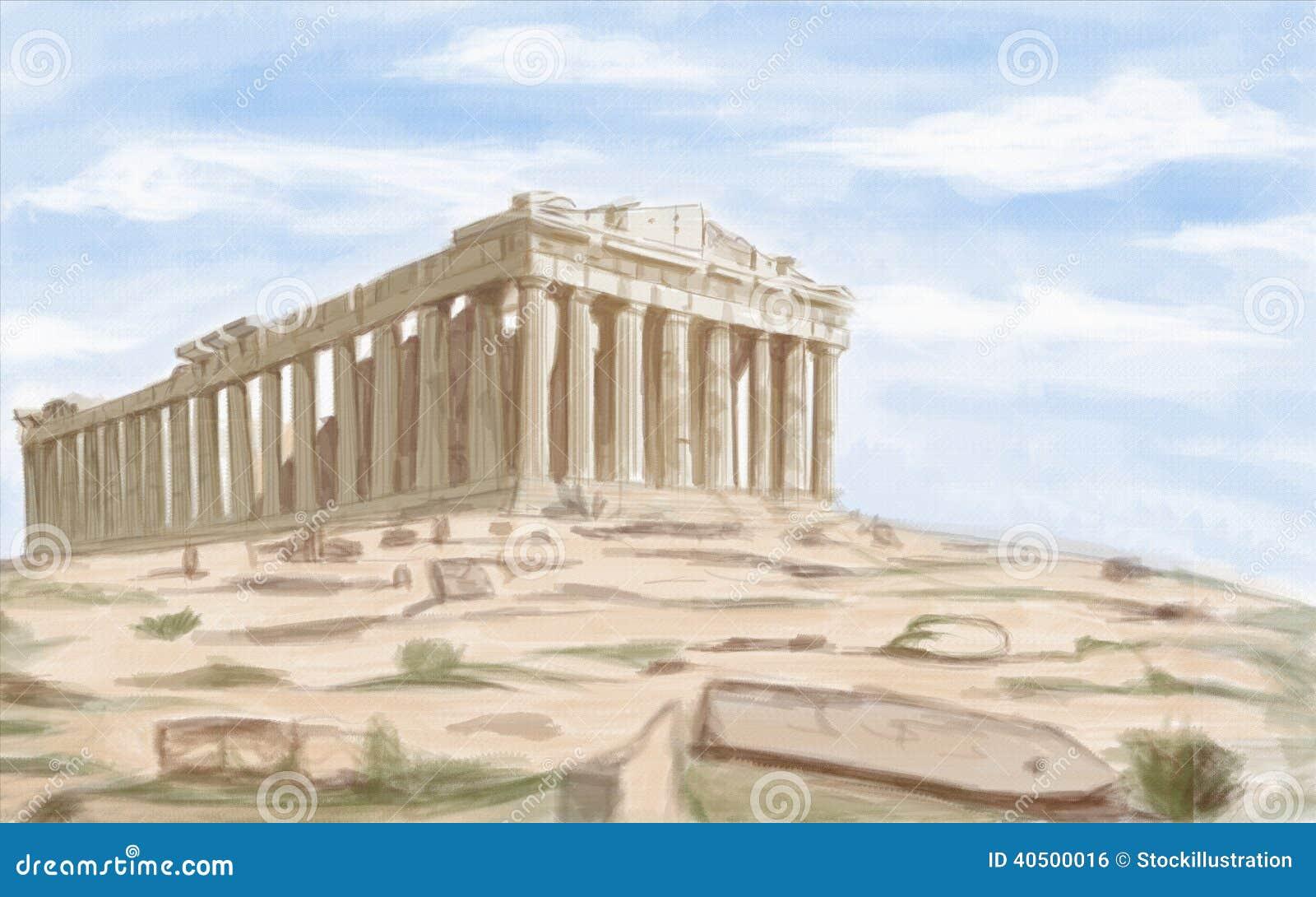 Templo antiguo del Parthenon de Atenas
