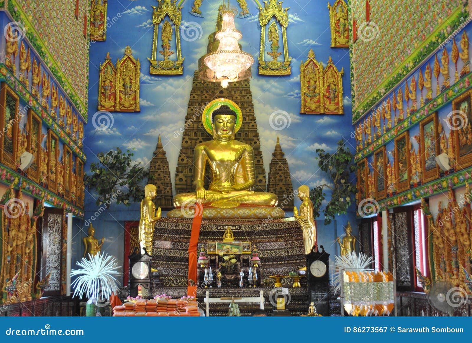 Templo buakwan de la arquitectura de la penetración del wat budista hermoso del edificio en Tailandia