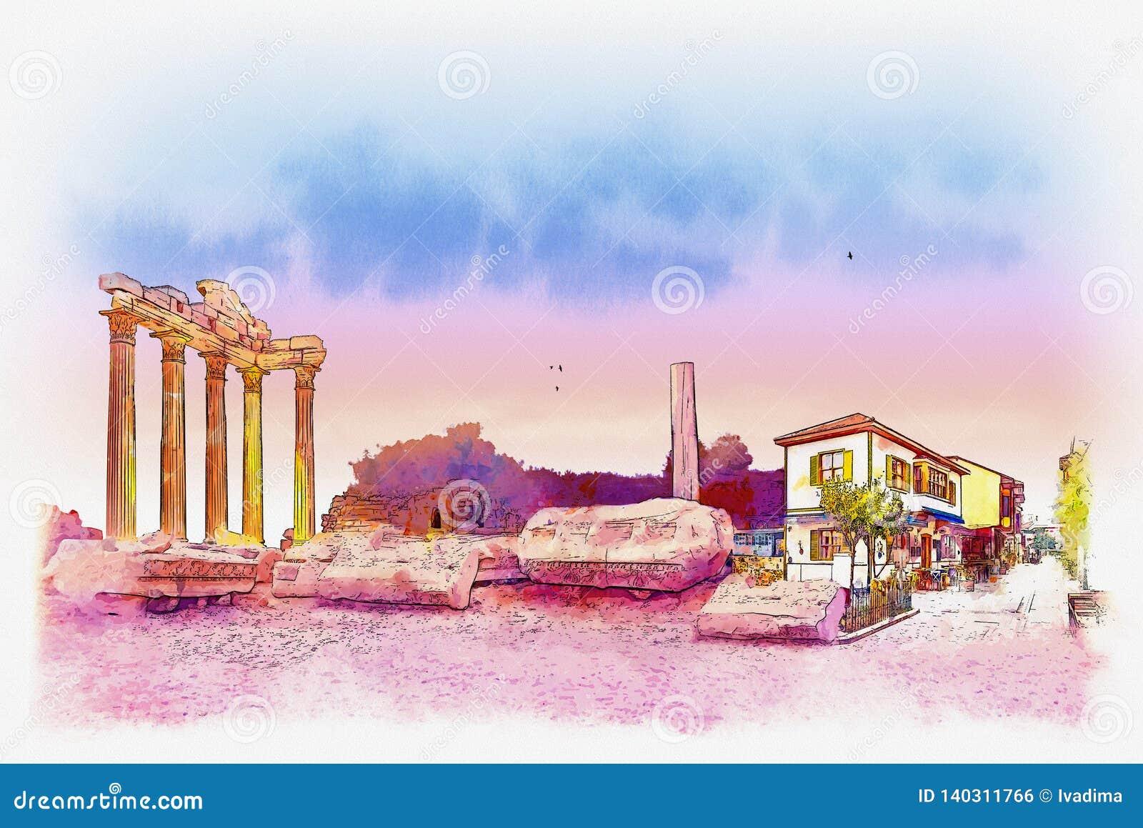 Templo de Apollo na cidade lateral da província de Antalya, Turquia Esboço da aquarela