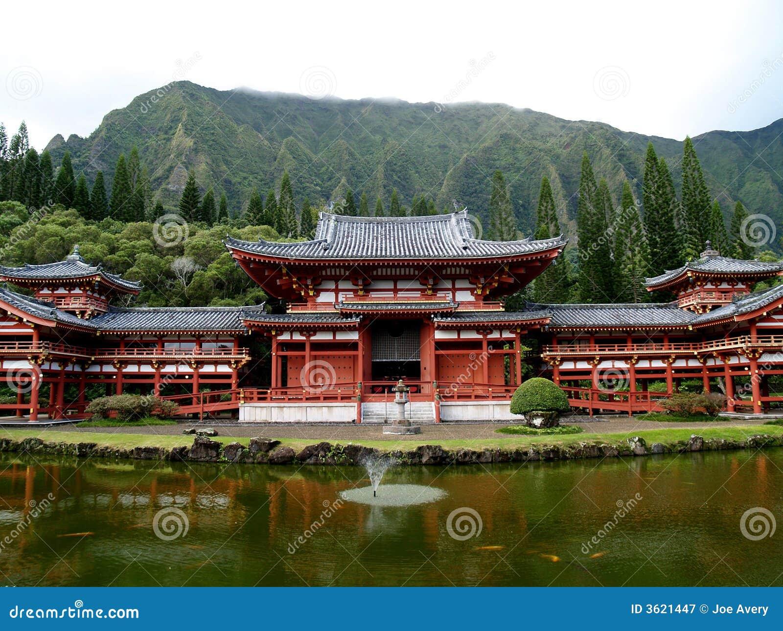 Templo de Budhist em Oahu Havaí