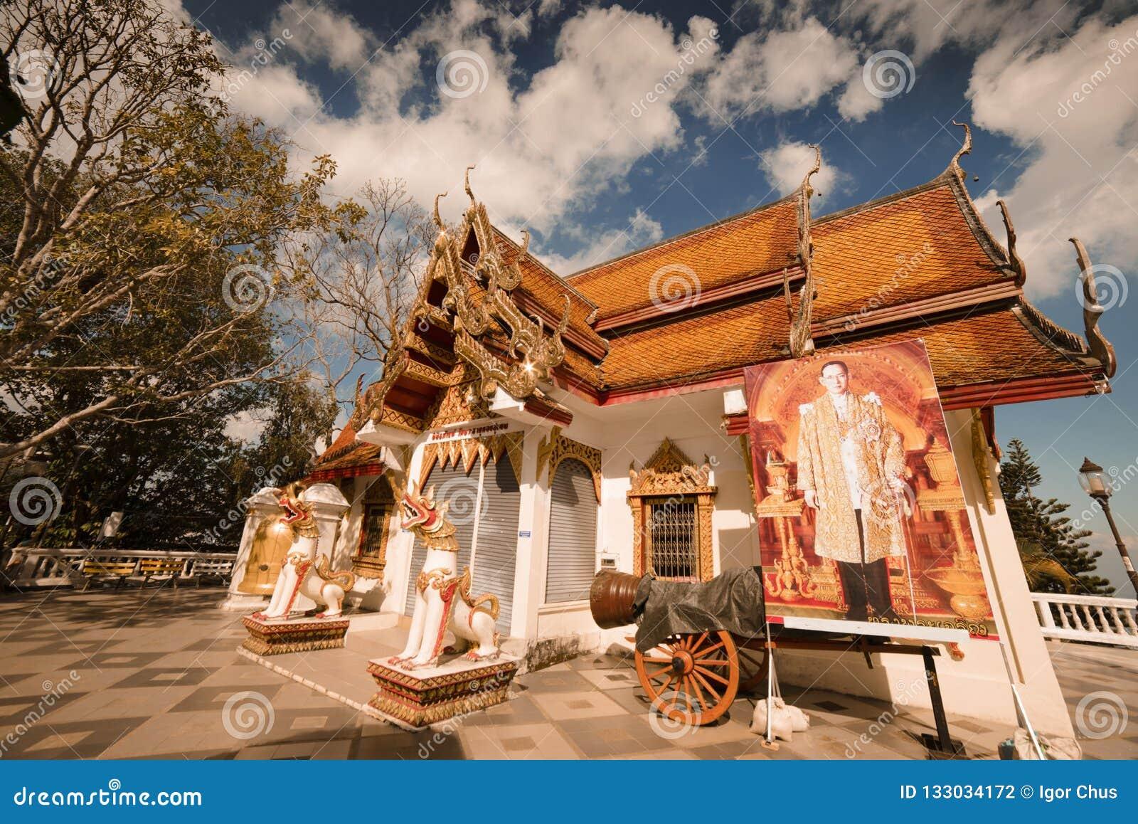 Templo de Wat Doi Inthanon en Chiang Mai, Tailandia En diciembre de 2016