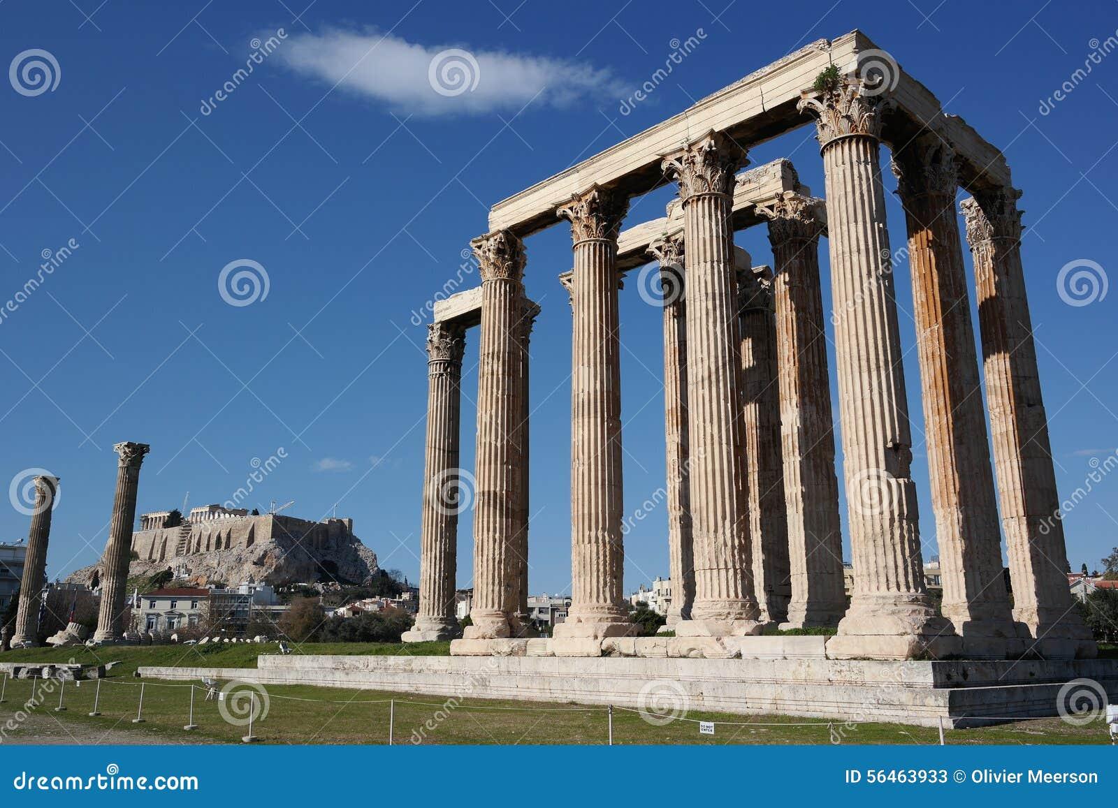 Templo del zeus olímpico, Atenas, acrópolis en el fondo