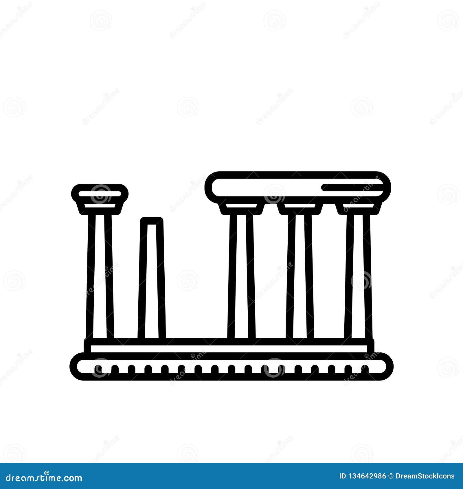 Templo do vetor do ícone de Apollo isolado no fundo branco, templo do sinal de Apollo, linha ou sinal linear, projeto do elemento