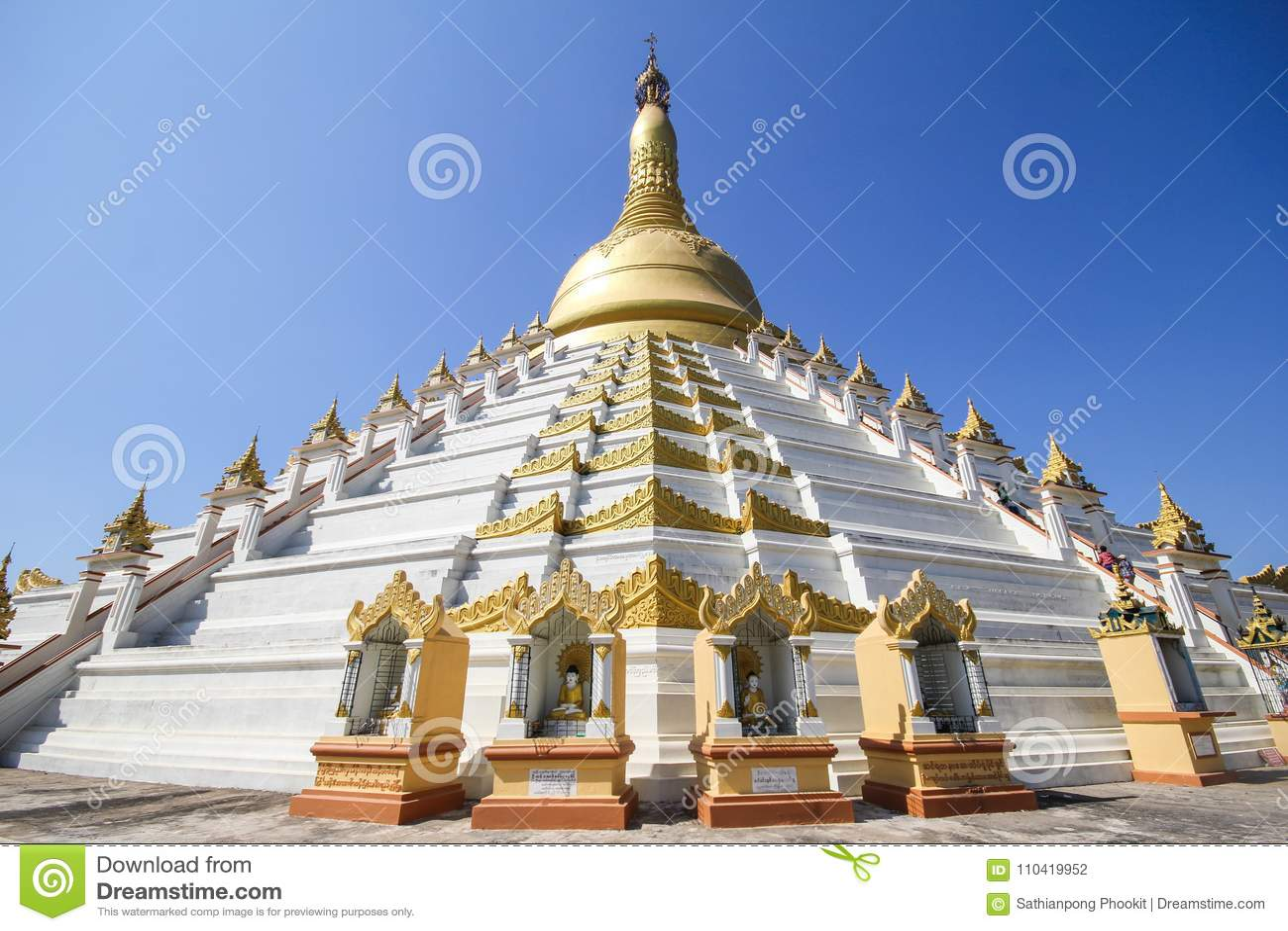 Templo e pagode em Bago, Myanmar