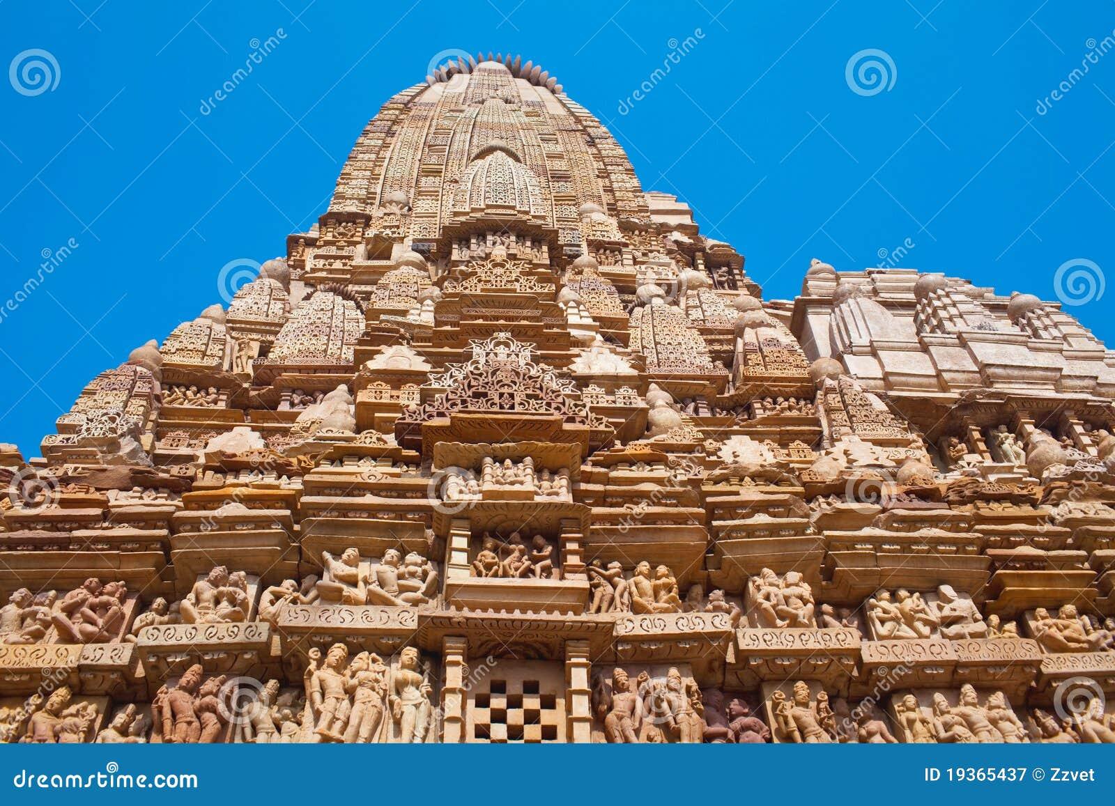 Templo erótico famoso em Khajuraho, India