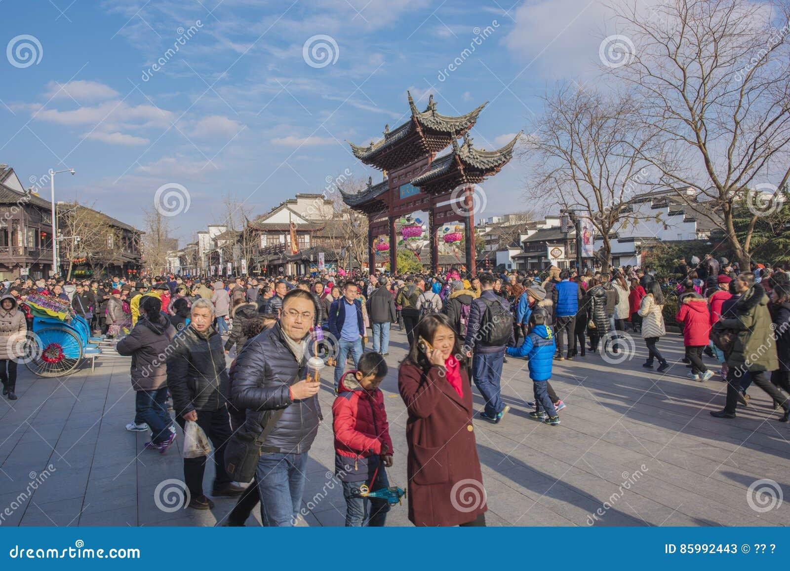 Templo lunar chino de Nanjing Confucio del Año Nuevo de turistas