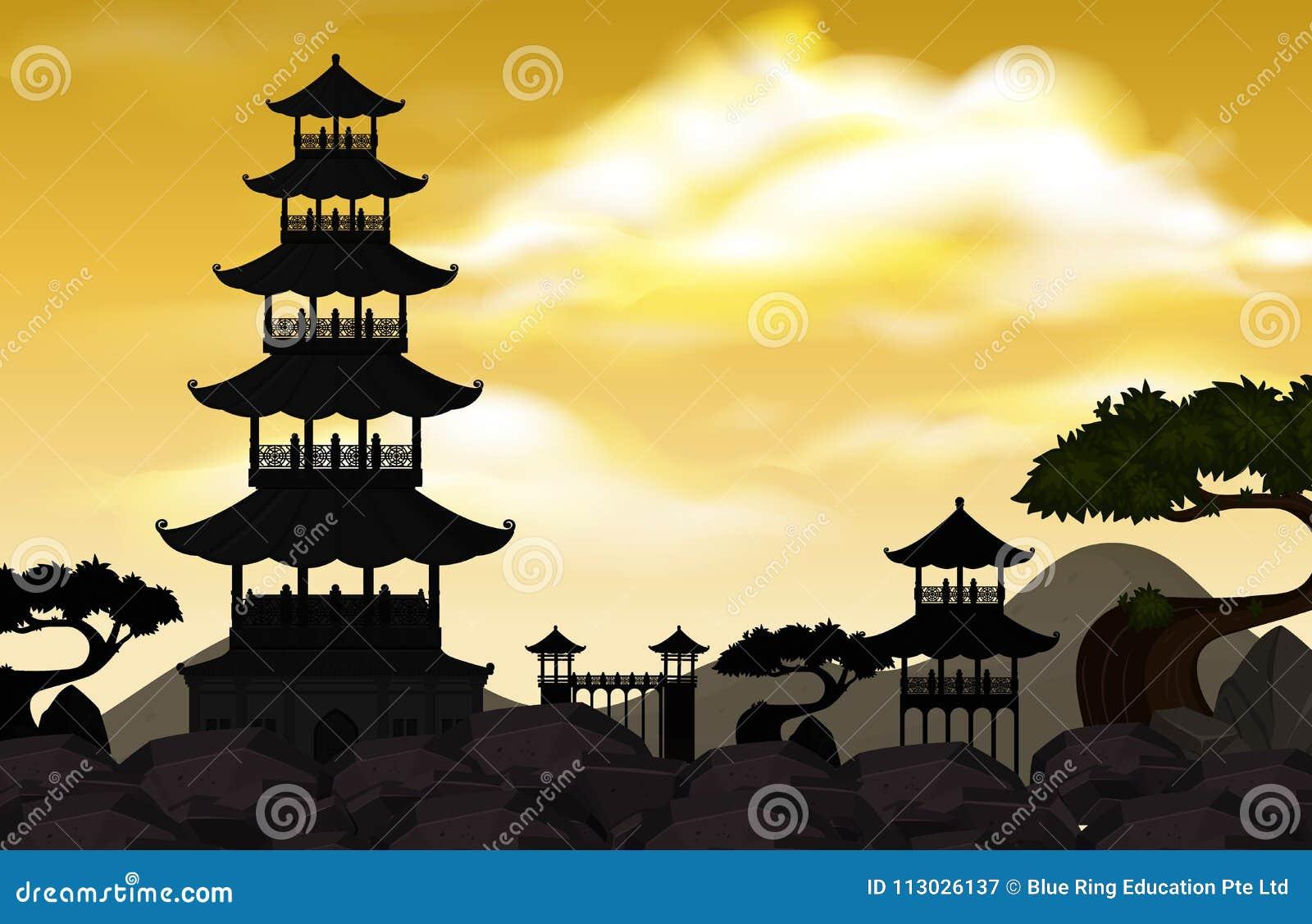 Templos de la silueta con el jardín en el cielo amarillo
