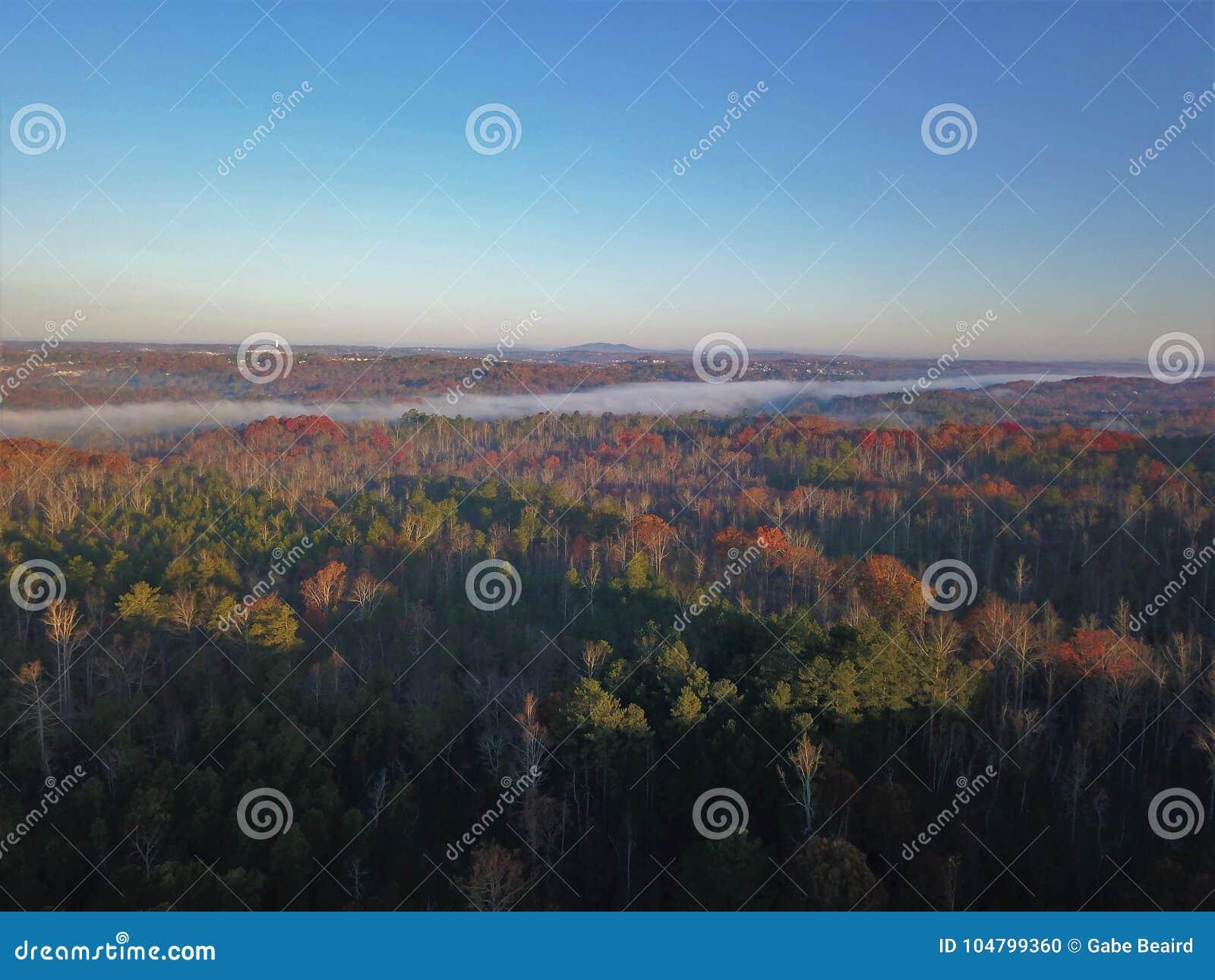 Tempo Chattahoochee River Suwanee Geórgia do outono
