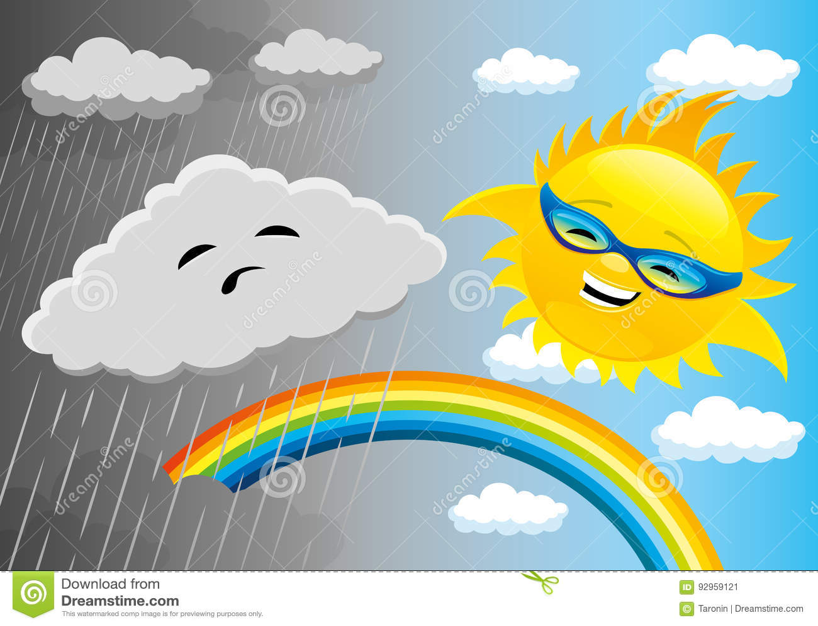 Tempo chuvoso e ensolarado