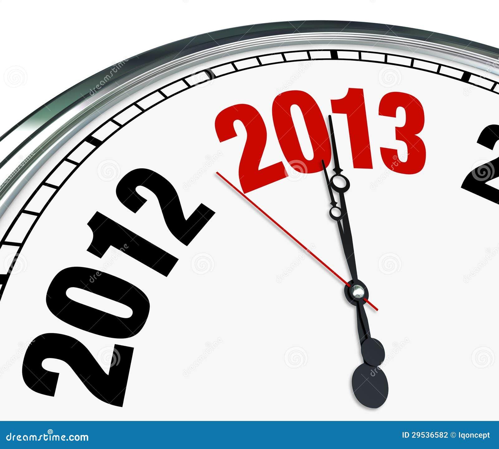 Tempo da face do relógio 2013 que tiquetaqueia para baixo ao começo do ano novo