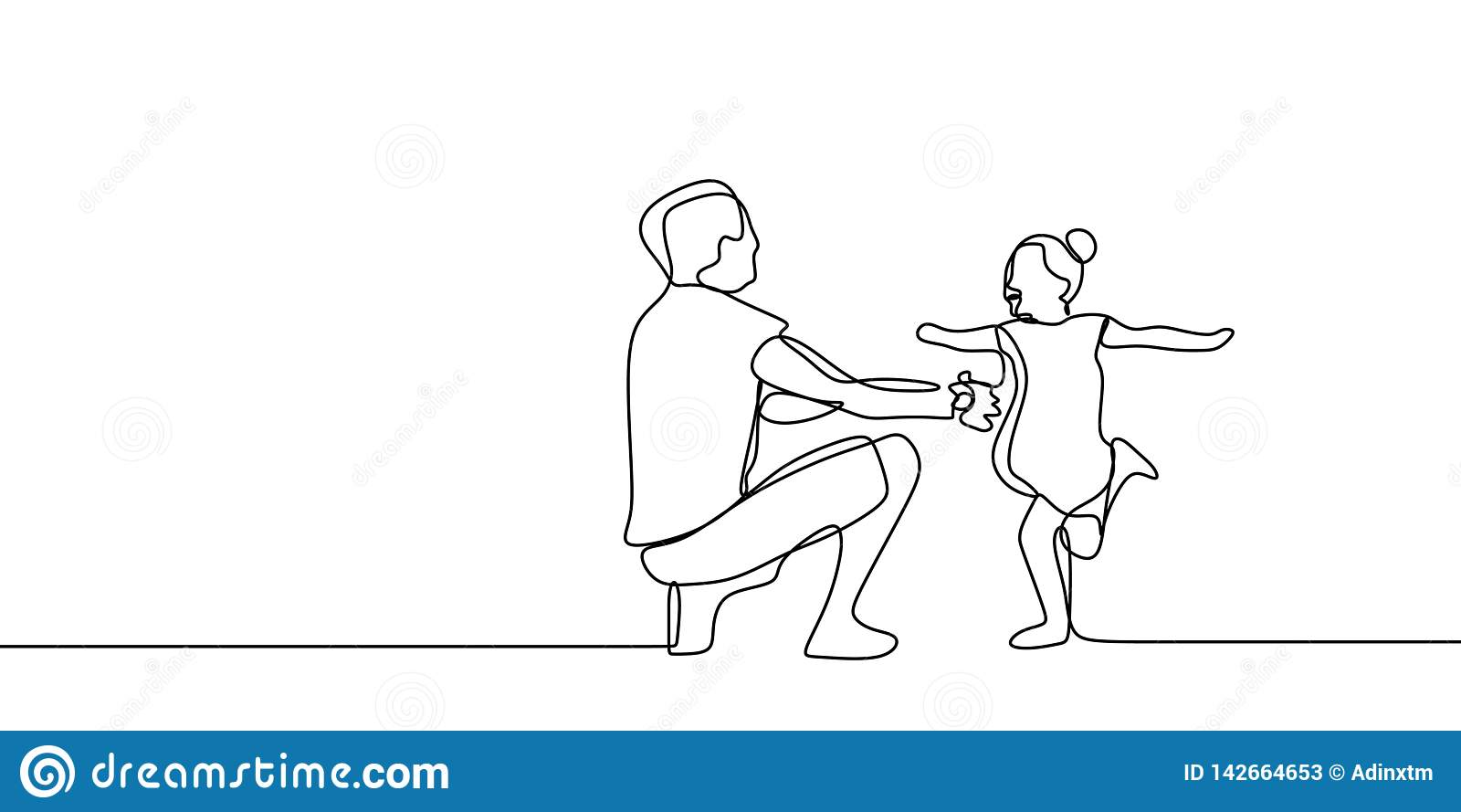 Tempo divertente della famiglia con il concetto di infanzia del padre e suo continuo illustrazione della figlia un di vettore del