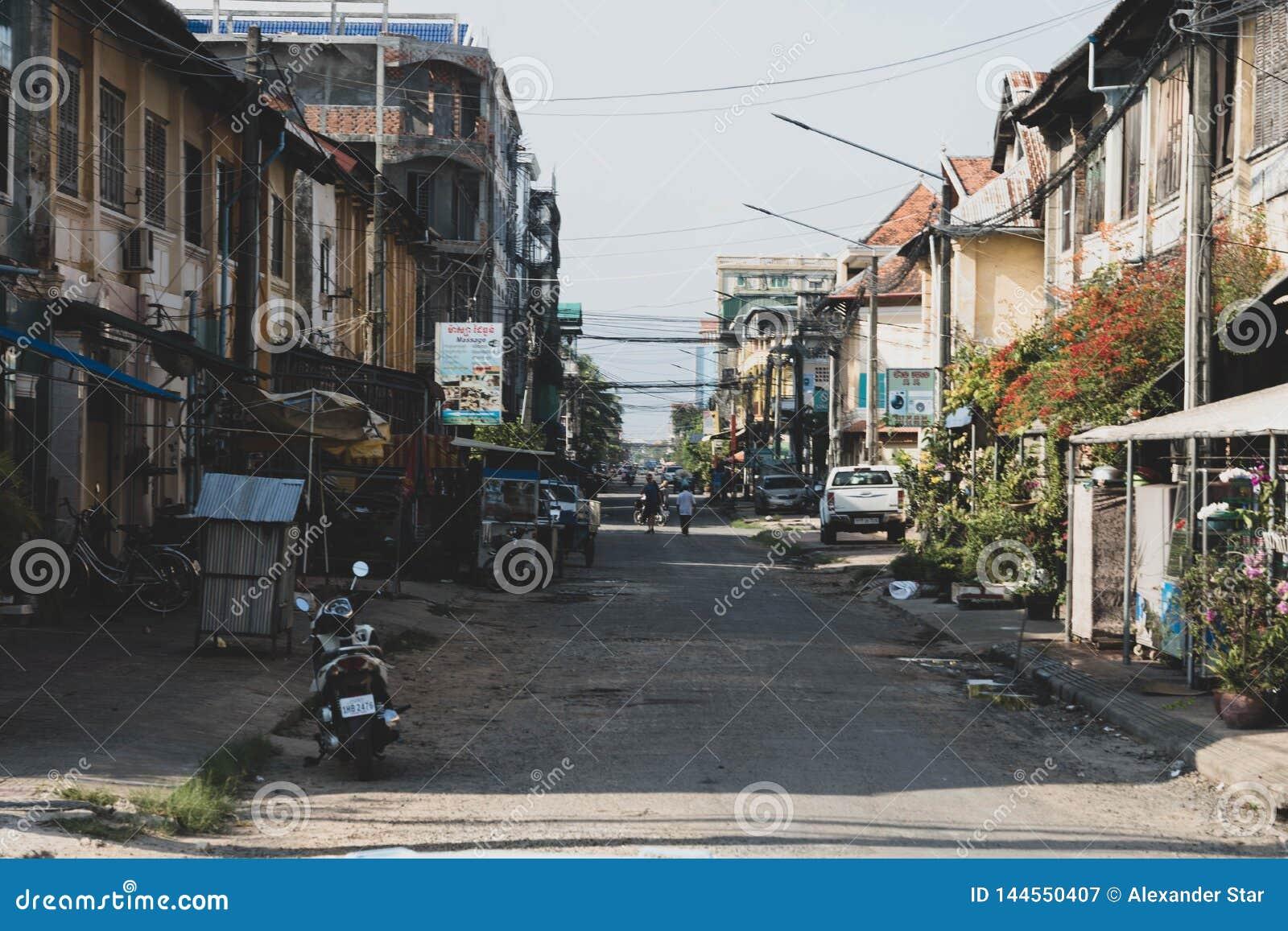 Tempo do dia da rua de Kampot cambodia