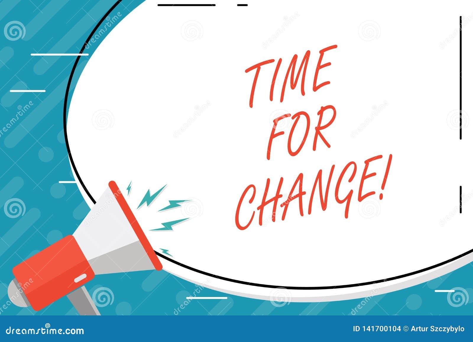 Tempo do texto da escrita para a mudança A transição do significado do conceito cresce para melhorar transforma para tornar-se