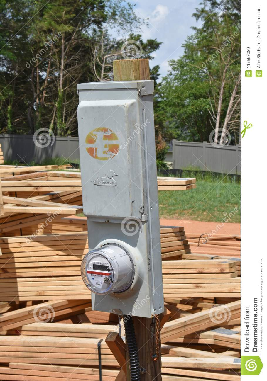 Temporary Power Pole On Home Construction Site Editorial