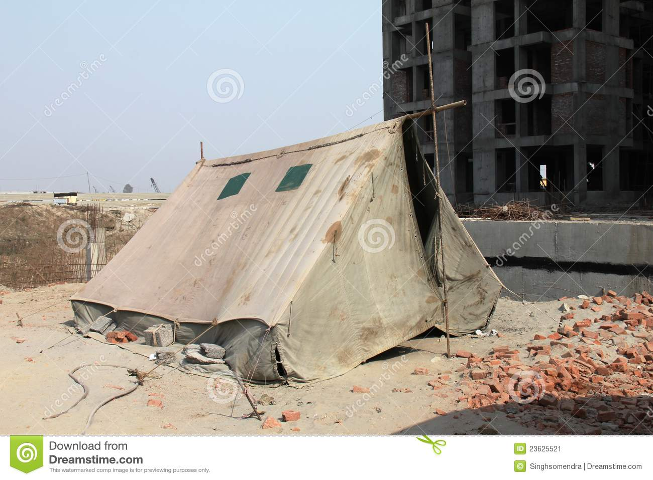 Construction Tents And Shelters : A temporary shelter tent under construction site stock