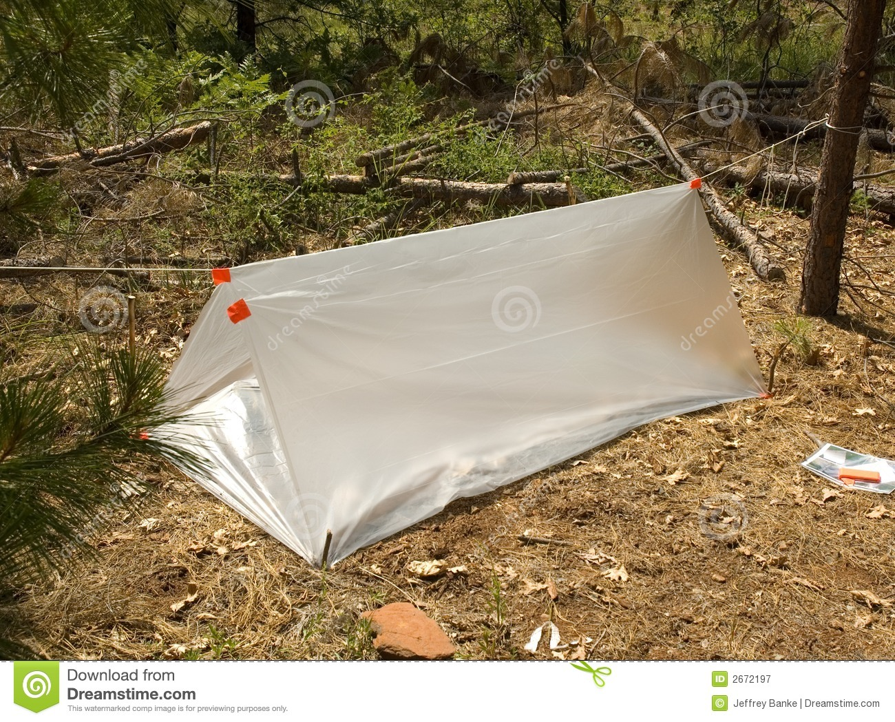 Temporary Shelter Survival Disaster : Temporary survival shelter royalty free stock photography