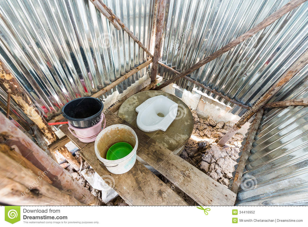 Construction Toilet Bowl : Temporary toilet at construction site stock photography