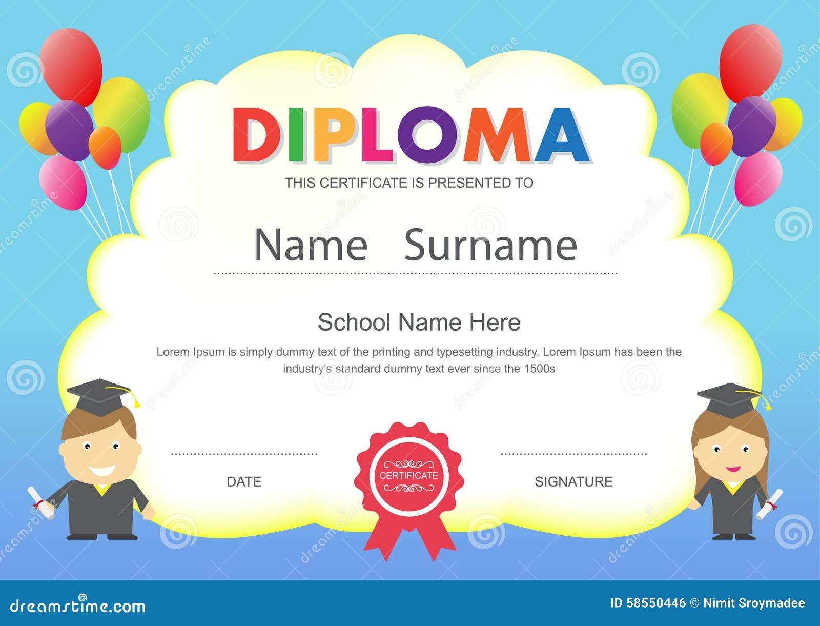 Temporeros Del Diseño Del Certificado Del Diploma De La Escuela ...