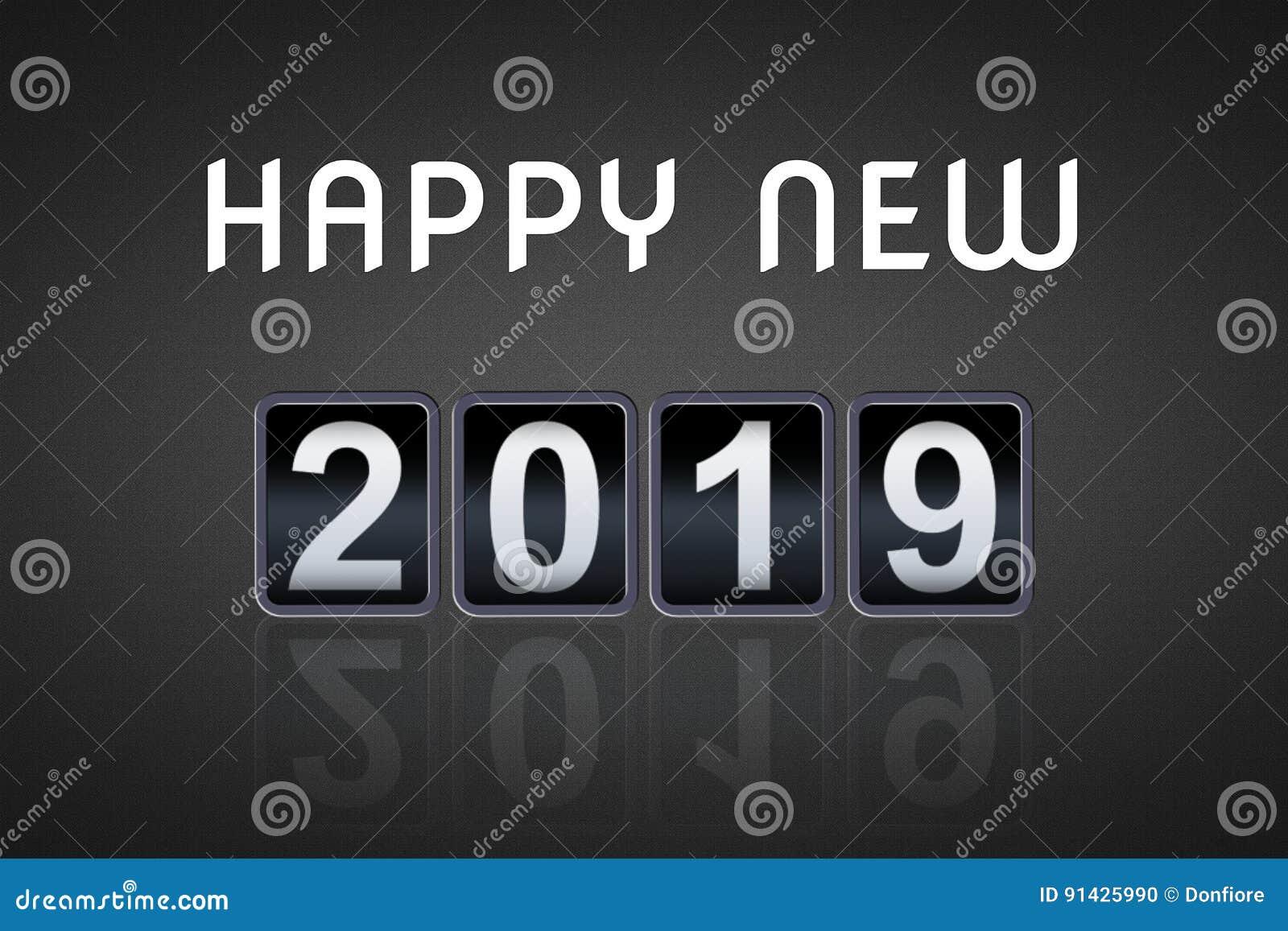 Temporizador contrário análogo da contagem regressiva do vintage do conceito do ano 2018 2019 novo feliz, contador retro do númer