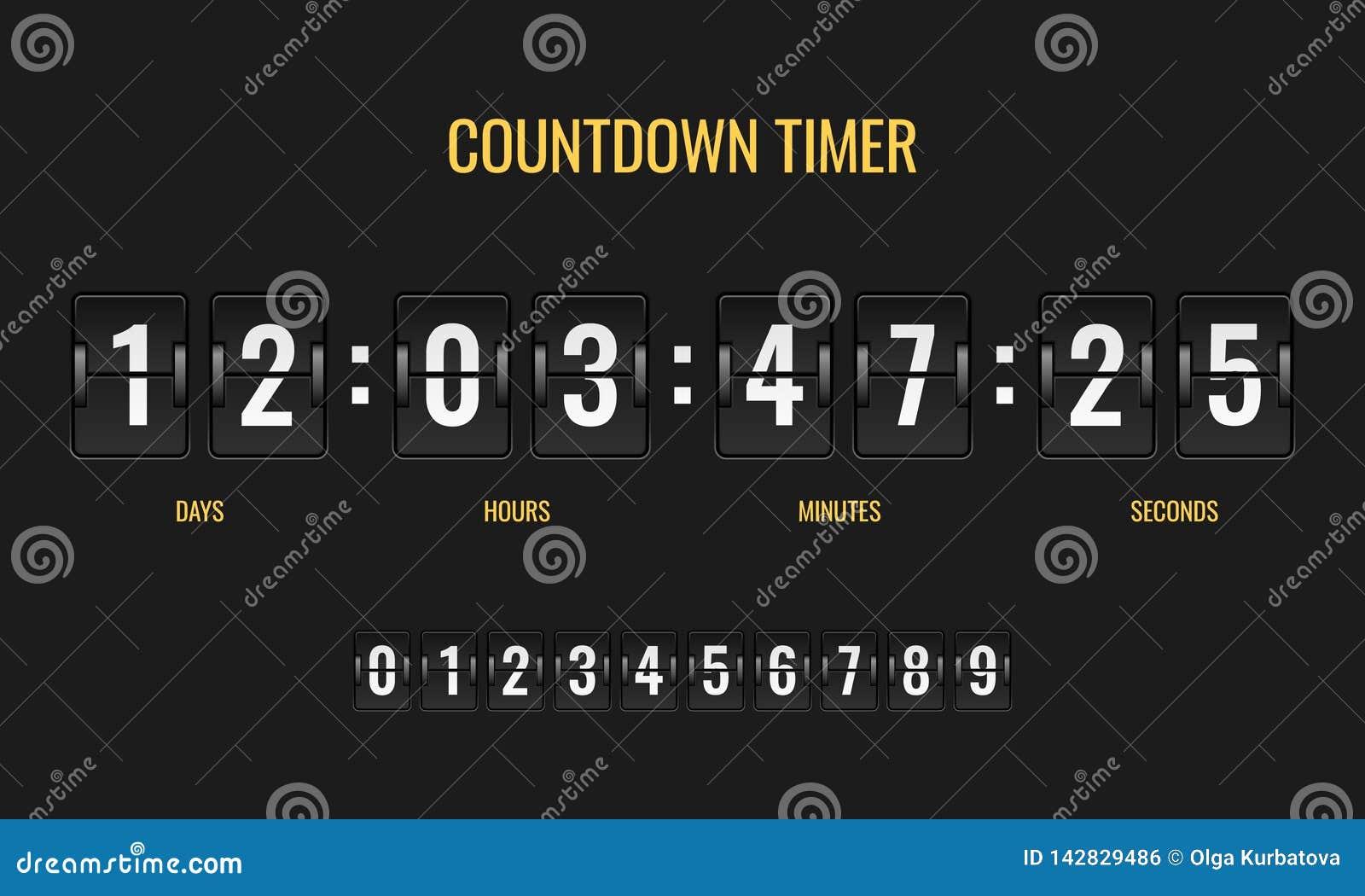 Temporizador da contagem regressiva Os mecânicos do relógio digital do placar do medidor opõem a informação abaixo do número que
