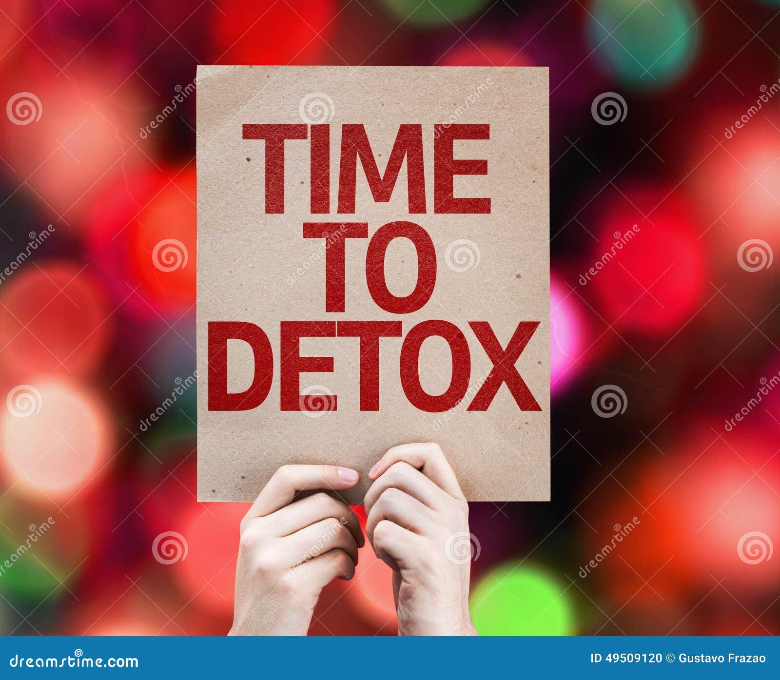 Temps à la carte de Detox avec le fond coloré avec les lumières defocused