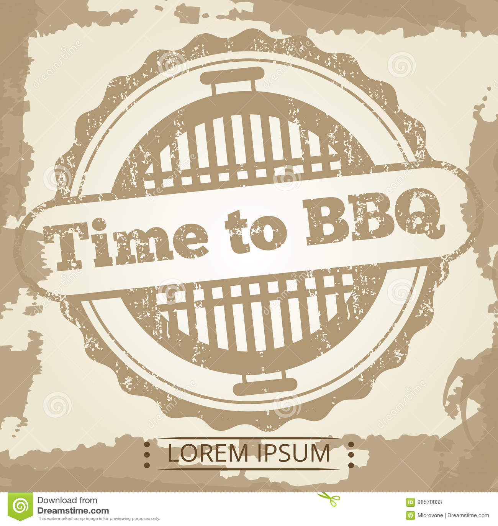 Temps au fond grunge de BBQ avec le label