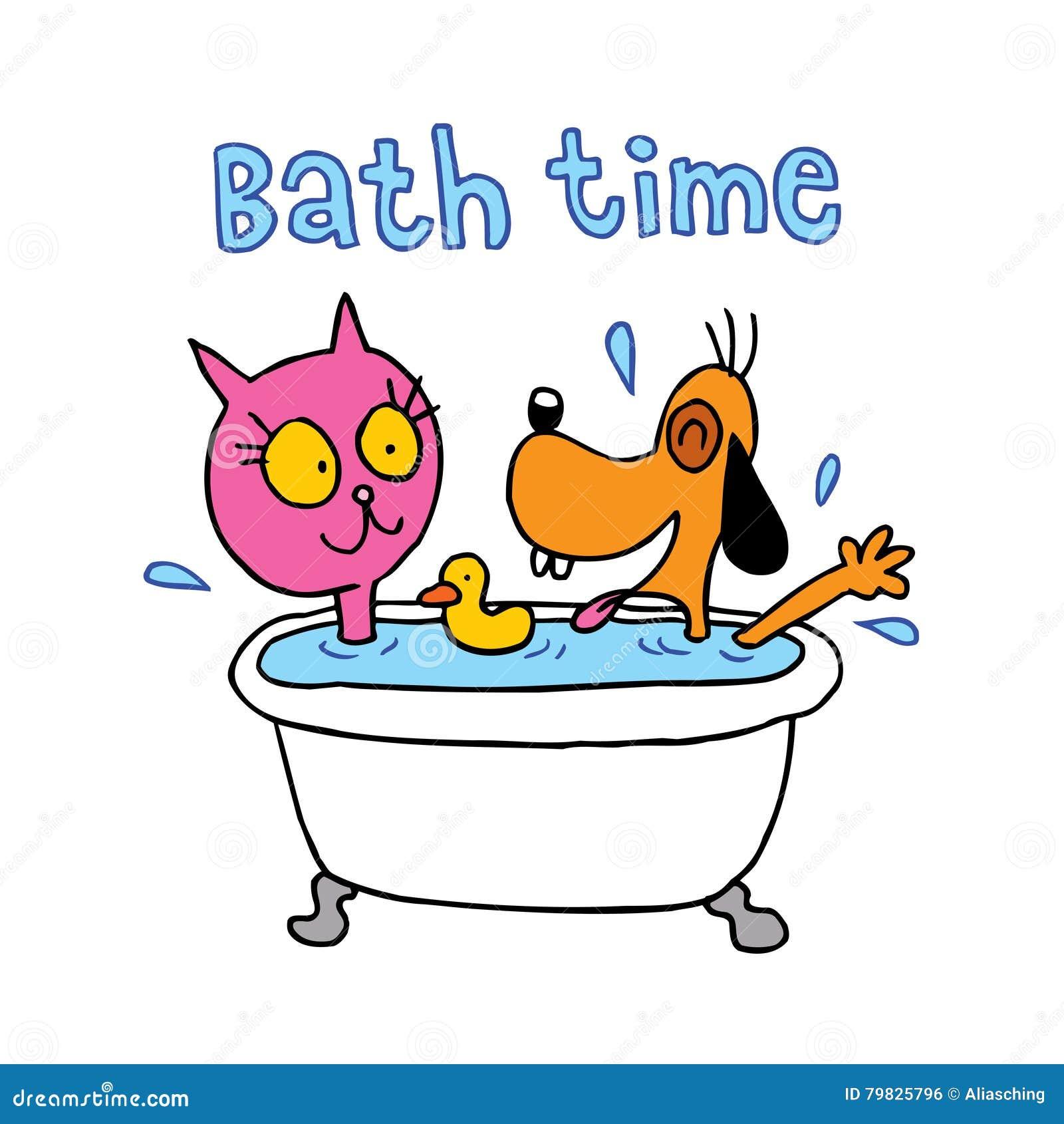 Temps de Bath - caractères mignons de chat et de chien