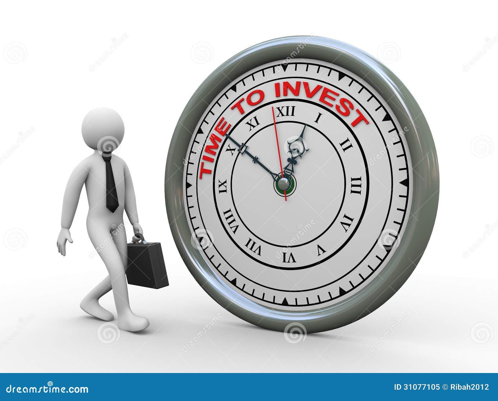 Temps de l homme d affaires 3d d investir l horloge