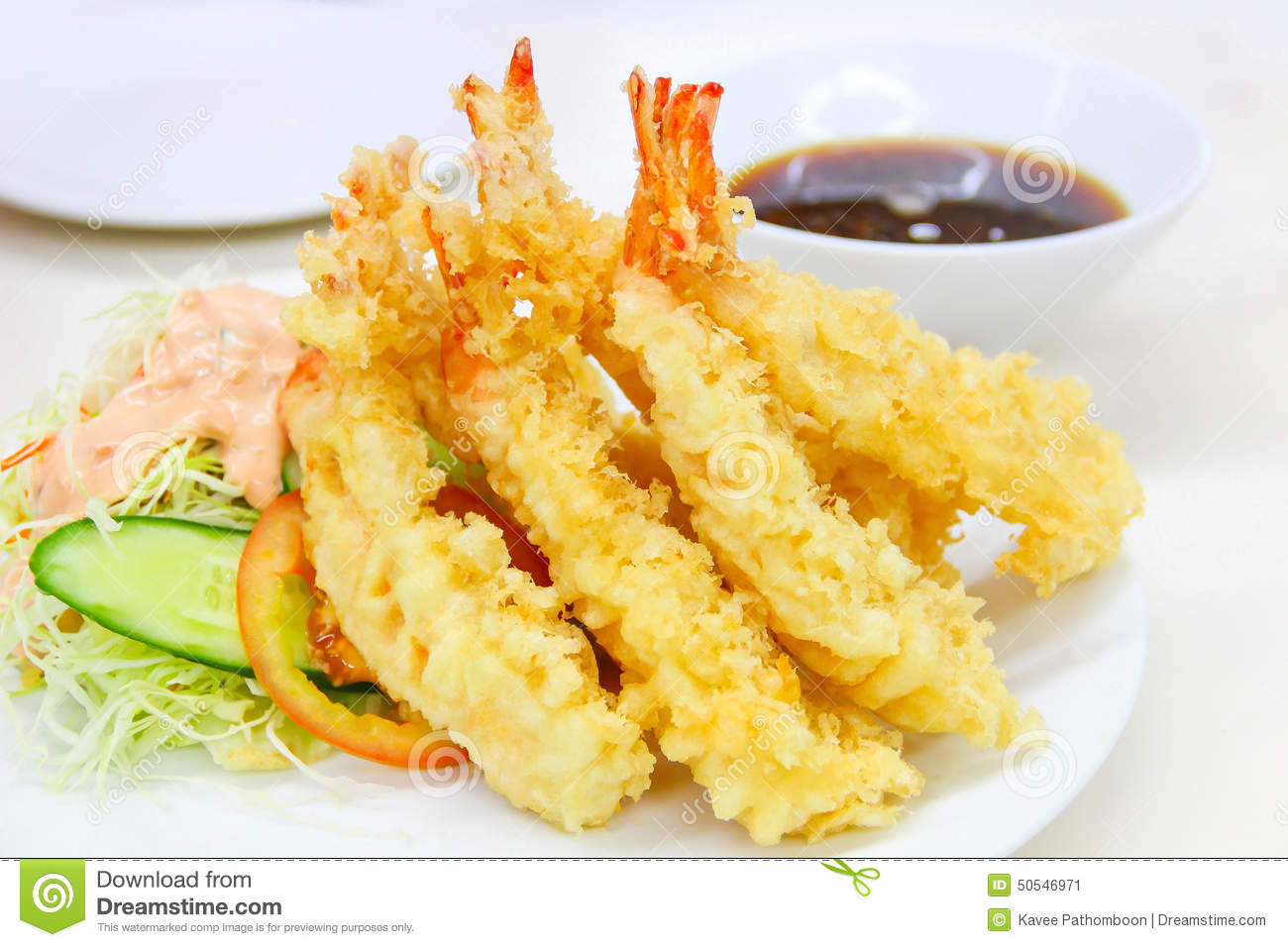 Japanese Cuisine - Tempura Shrimps (Deep Fried Shrimps) with sauce.