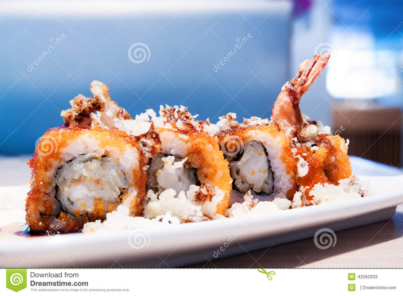 Tempura maki sushi with fish eggs salmon stock photo for Fish eggs on sushi