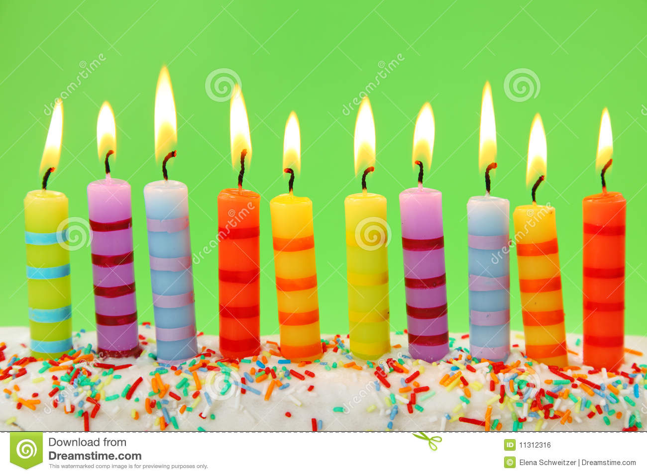 Ten Birthday Candles Stock Photo Image Of Burning Candle